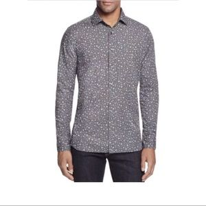 New Men's Bloomingdale's Charcoal floral button up